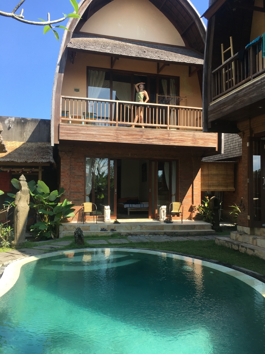 Enjoying our two-story Airbnb villa overlooking a beautiful in the outskirts of Ubud, Bali