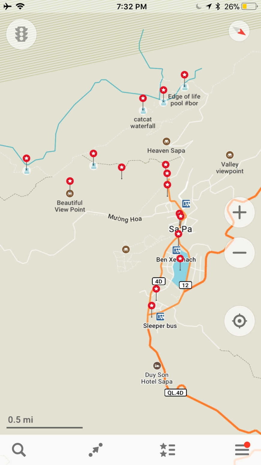 Maps.me screenshot of awesome places to go explore in and around Sapa, Vietnam