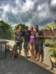 Saying goodbye to our good friends Wayan and Made on our last day in Tampak Siring, Bali at their family homestay