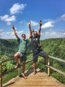 TJ and Remy at ABC viepoint in Bagli Bali on a day when Remy was showing us around Bali