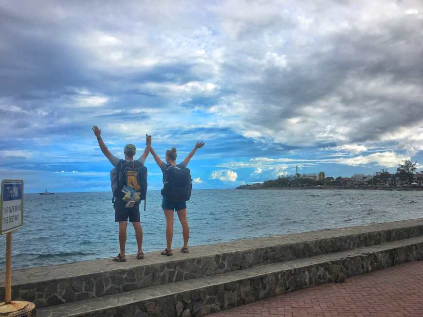 Traveling with our carry-on sized Tortuga Backpacks in Dumaguette, Philippines