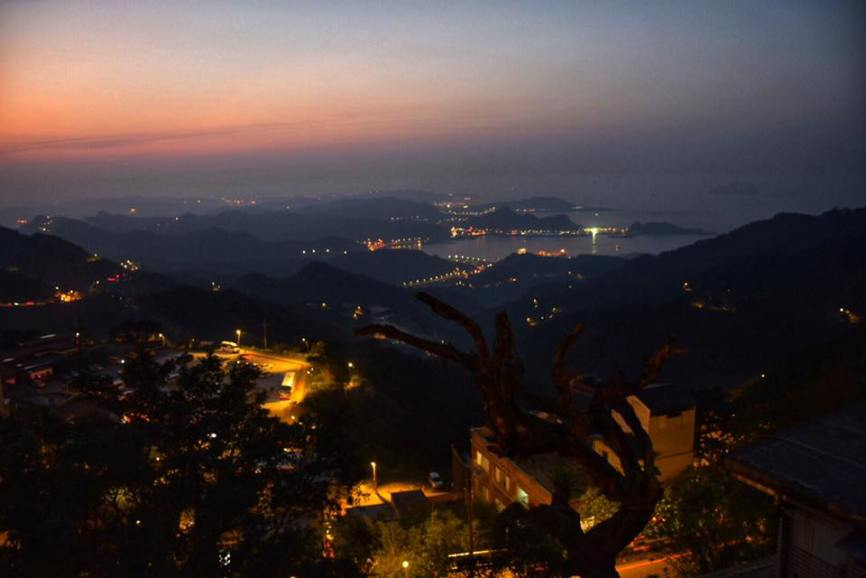 The view from Jiufen looking out toward the ocean at night
