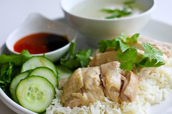 A plate of delicious Singaporean chicken rice