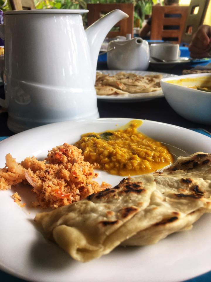 Sri Lanka's staple breakfast dish of coconut sambal, dhal, and roti