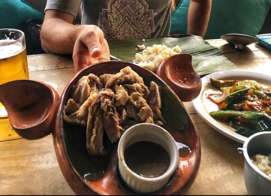 Travel blogger TJ holding up a plate of The Philippine's famous Lechon dish served on a pig-shaped plate