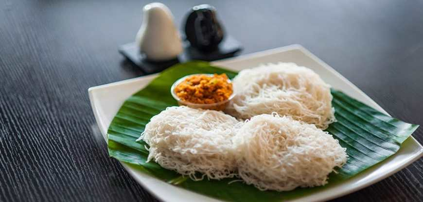 Plate of Sri Lankan String Hopers served on a banana leaf