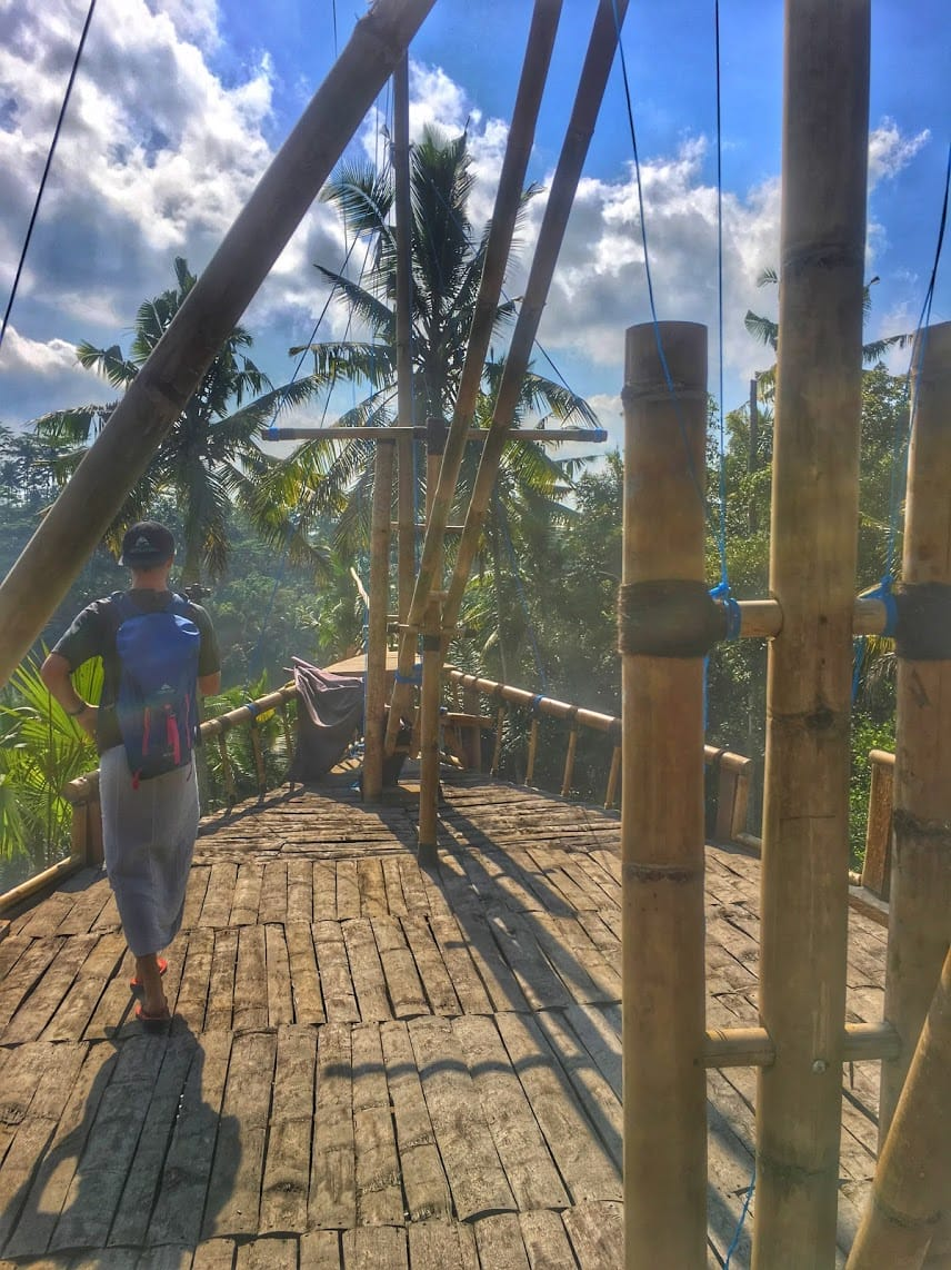 TJ of Life Is Meant For Exploring taking a photo at the pirate ship cafe at Gunung Kawi temple