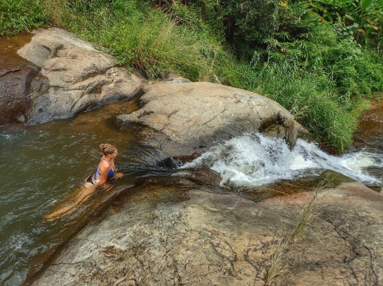Enjoying the pools between two waterfalls in Pai, Thailand