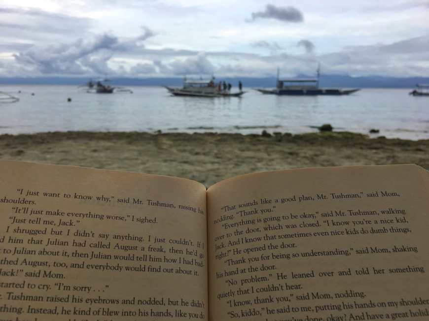 Pages of the book Wonder being read on the beach as the book covered half the screen and the empty beach the rest