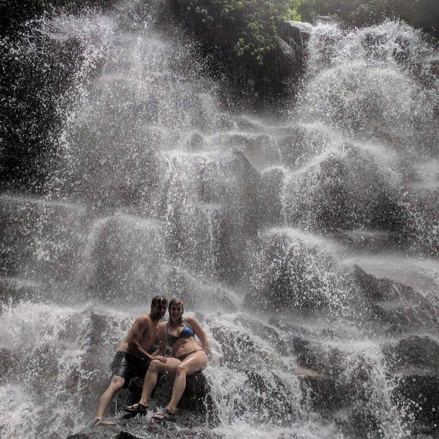 enjoying a bath in one of bali's