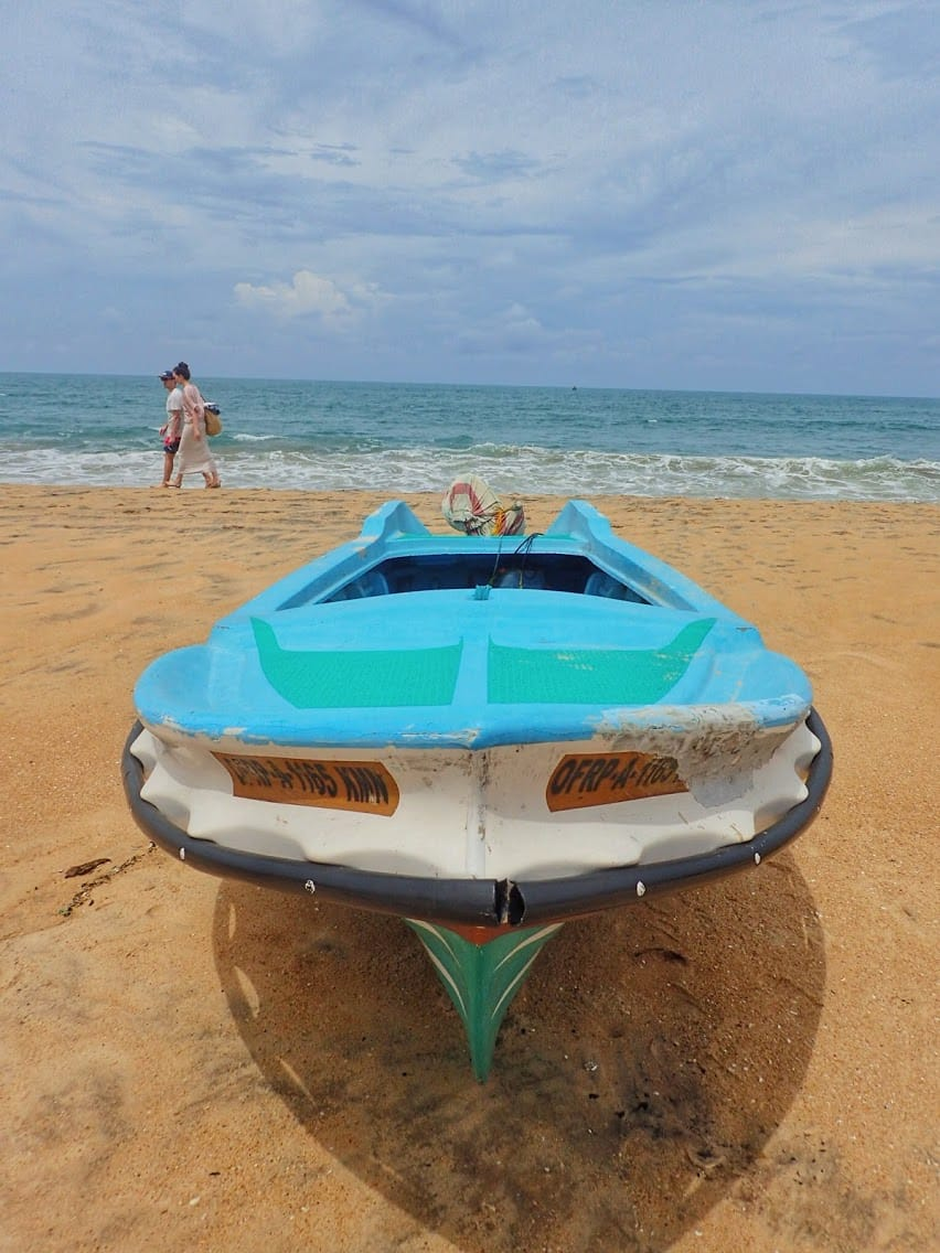Traditional Sri Lankan bright blue fishing boat on the sand at the beach with a couple walking behind in the distance