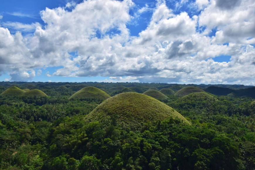 "Bohol's famous ""chocolate hills"" jutting out of the landscape like tiny lush-green hills covered in jungle"